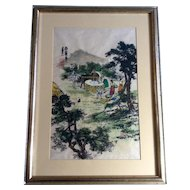 Korean Countryside At the Mill, Asian Watercolor Painting on Rice Paper Works on Paper, Signed by Artist