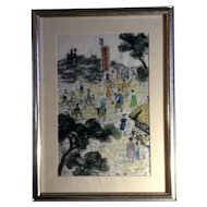 Korean Village Celebration Festival, Asian Watercolor Painting on Rice Paper Works on Paper, Signed by Artist
