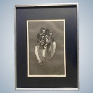 LT Russell, Abstract Bizarre Zombie Apocalypse Attack Human Figurals Stone Lithograph Signed by Artist 1968