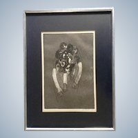 LT Russell, Bizarre Zombie Apocalypse Figurals Stone Lithograph Signed by Artist 1968