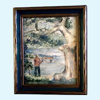 Sherman, Fishing on the Riverbank Watercolor Painting 1930's-1940's Signed by Artist