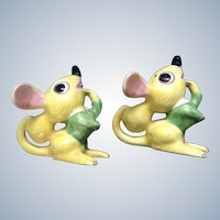 Mid-Century Mice Salt & Pepper Shakers Identical Twins Made in Japan