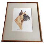 Ole Larsen(1898 - 1984) Boxer Dog Portrait Original Watercolor Painting Works on Paper Signed by Listed Artist