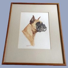 Ole Larsen(1898 - 1984), Boxer Dog Portrait Watercolor Painting Signed Listed Artist