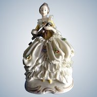 Dresden Lace Lady Figurine Ackermann & Fritze Woman Playing a Lute Guitar Blue Crown Stamp 1908-1938