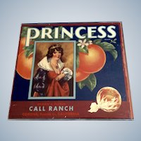 Sunkist Orange Crate Label PRINCESS 1939 Corona Riverside Royalty Plexiglass Frame Styrofoam Backing