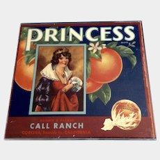 Sunkist Orange Crate Label PRINCESS 1939 Corona Riverside, Royalty, Original Label in Plexiglass Frame with Styrofoam Backing