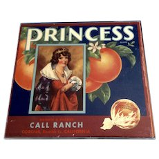 PRINCESS 1939 Corona Riverside Sunkist Orange Crate Label, Royalty, Original Label in Plexiglass Frame with Styrofoam Backing