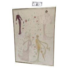 Eugene, Fashion Designer Large Drawings Watercolor Mixed Media Painting Works on Paper Signed by Artist