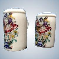 Vintage Salt & Pepper Shakers Beer Steins Reutter Porzellan Germany Bavaria with Folk Dancers