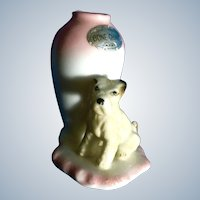 Blonde Schnauzer Dog Toothpick Holder Mid-Century Japan by a Pink Vase Bone China Figurine