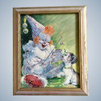 Child Clown and a Puppy Dog Oil Painting on Canvas Board Monogrammed by Artist