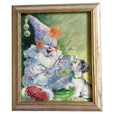 Amusing Child Clown and Dog Oil Painting
