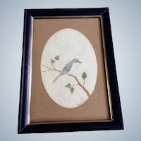Bart Tignor, Finch Bird on a Branch Watercolor Painting Signed by Artist