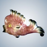 Pink Fish Wall Pocket Ceramicraft Tropic Treasures Ceramic Vase Rainbow Glaze Finish 1950's