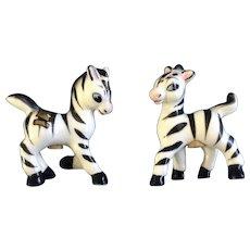 Adorable Zebra Salt & Pepper Shakers New Hampshire Souvenir Mid-Century Japan Ceramic Figurines