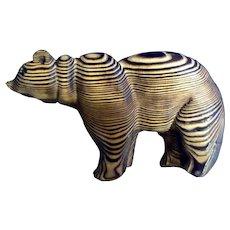 Bear Folk Art Wood Carving Decorative Vintage Wall Decor Animal Figure 1970's