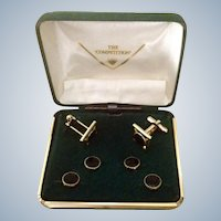 Cufflinks and Button Stud Set The Competition, Black and Gold Tone