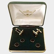 Vintage Cufflinks and Button Stud Set The Competition, Black and Gold Tone in Original Green Felt Box