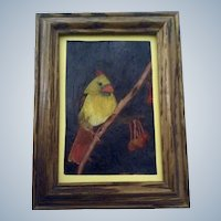 Adorable Little Yellow Northern Cardinal and Cherries Painting on Plastic in Wood Picture Frame