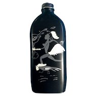 Vintage Unique Hand Painted Bottle with Nude Lady Running with a Rooster and Cocktail Glass 1930-1960's Black Americana