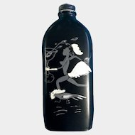 Vintage Moonshine Bottle Unique Hand Painted with Nude Lady Running with a Rooster and Cocktail Glass 1920's-1960's Black Americana