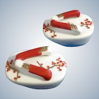 Japanese Salt & Pepper Shakers Geta Sandal Shoes with Berry Branches Ceramic 1970's