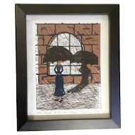 Stefanie Nemmers, Linocut In The Rain Limited Edition Numbered and Signed Art Print