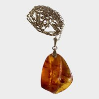 Amber Necklace Russian Soviet Caved Baltic Honey Pendant 875 Bail Gold-tone Chain