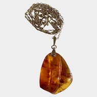 """Vintage Amber Necklace Russian Soviet Caved Baltic Honey Pendant with 24"""" Gilded Sterling Silver 875 Bail and Gold Tone Chain"""