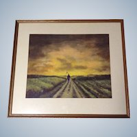 G Bates or G Batz Man at Harvest Watercolor Painting 1930's Signed By Artist