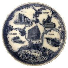 Antique Wheelock Flow Blue Plate Souvenir of St Louis, Mo  England Transfer Ware 1911-1912