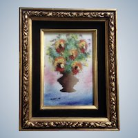 Fleming, Flowers in Vase Enamel On Copper Painting Signed by Artist