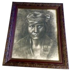 Patricia Jantzen, Charcoal Pencil Sketch Portrait of an Indian Signed by Artist