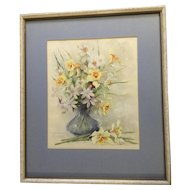 Florence A. Kroger (1897 - 1980), Painting, Still Life Floral Vase With Yellow Daffodils, Signed by Listed Artist, Watercolor Works on Paper
