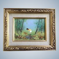 Fleming, Girl in Wildflowers Enamel On Copper Painting Signed by Artist