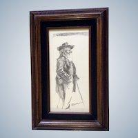 P. Denton, Pencil Drawing of An Elder Man Signed by Artist