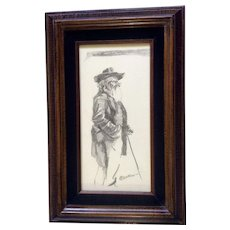 P. Denton, Pencil Drawing of An Elder Man With A Cane Works on Paper Signed by Artist