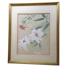 Japanese Wood Block Print White Lilly Flowers Signed by Artist