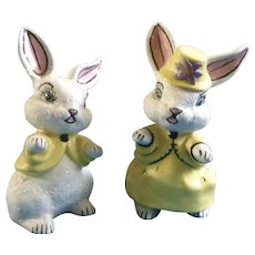 Nome, Bunny Rabbit Easter Figurines Mid-Century Hand Painted Ceramic Adorable