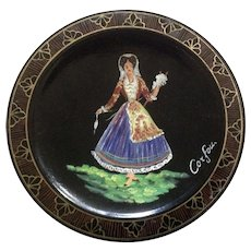 Wooden Plate Art of Corfou Kepkyoatkn Texnh Wool Spinning Lady Painting from Greece