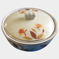 Autumn Leaf by Hall Serving Dish Medallion Drip with Lid (1936-1976) 2 3/4 in tall Ceramic Pottery
