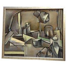 Klaudiusz Jedrusik, Cubism Mixed Media Acrylic Oil Titled Still-life Claudius Jędrusik (1928-1986) Signed by Listed Artist