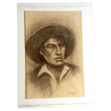Walden, Portrait of a Worker Art Conte Pencil 1971 Signed By Artist
