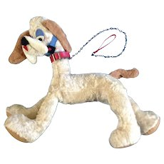Vintage Toy Adorable Dog Stuffed Plush Animal Mid-Century With Leash