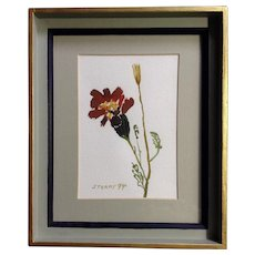 Sterns, Watercolor Painting Blooming Flower Works on Paper Signed by Artist