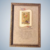 Vintage Print Hand Painted Painting With Poem and Gilding
