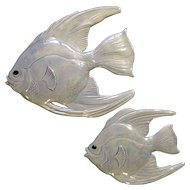 Holland Mold Opalescent Fish Wall Plaques Iridescent Aurora Borealis  Mid-Century Ceramic Decor Figurines