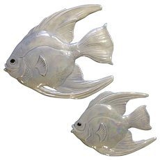 Holland Mold Opalescent Fish Wall Plaques Iridescent Aurora Borealis  Mid-Century Ceramic Decor Figurines
