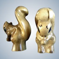 Wood Carved Squirrel Figurines Vintage Deloss Oregon Myrtlewood Statues Signed by Artist